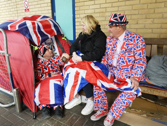Royal supporters, Maria Scott (C), Terry Hutt (C) and
