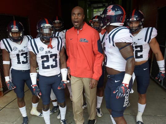 Mississippi wide receivers coach Grant Heard, center, is reportedly on his way to joining IU's staff.