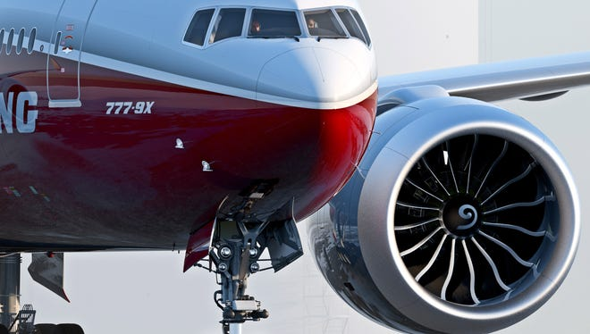Artist's concept provided by Boeing of the 777-9X, the largest of the aerospace company's new family of 777X jetliners.