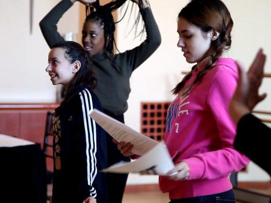 "Newark students rehearse a scene from the play ""Slut,"""
