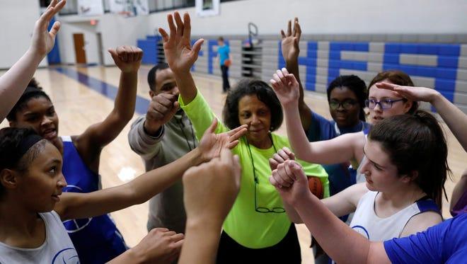Hume-Fogg Girls Basketball Coach Angela Hubbard oversees a team practice Wednesday night.