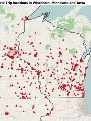 Kwik Trip store locations in Wisconsin, Minnesota and