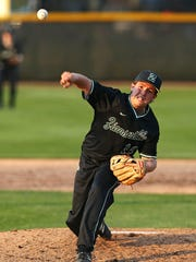Zionsville Eagles' Kyle Callahan (16) pitches to Noblesville,