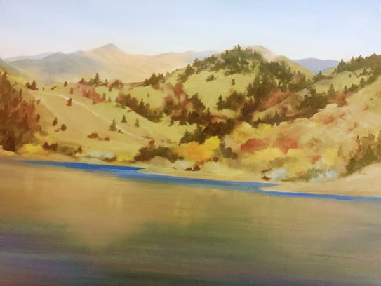 Janet Sedlacek paints Holter Lake's natural beauty.