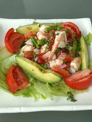 A salad with shrimp at Crabby Lady Restaurant, 123