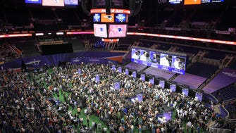 A general view of the New England Patriots players and coaches as they address members of the press during media day.