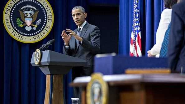 U.S. President Barack Obama speaks before signing the Every Student Succeeds Act (ESSA) bill in the South Court Auditorium of the Eisenhower Executive Office Building next to the White House in Washington, D.C., U.S., on Thursday.