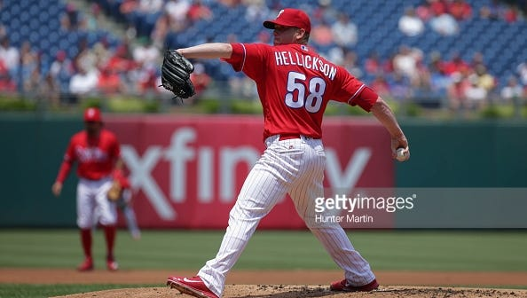Phillies right-hander Jeremy Hellickson throws a pitch in the first inning Monday a game against the Arizona Diamondbacks at Citizens Bank Park. Arizona won 3-1 to give the Phillies to their seventh consecutive loss.