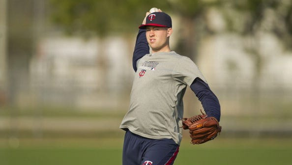 Alex Wimmers of the Minnesota Twins throws at the complex before the game against the Pittsburgh Pirates on February 25, 2013 at Hammond Stadium in Fort Myers, Florida.