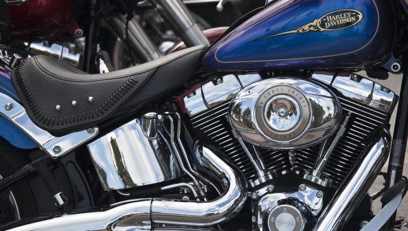 Harley Davidson Fatboy 90 cubic inches engine motorbike in South Beach, Miami, Florida.