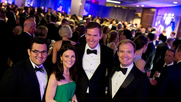 UNITED STATES - APRIL 30: Communications staff of Speaker Paul D. Ryan, R-Wis., from left, Mike Ricci, AshLee Strong, Brendan Buck, and Doug Andres, appear at the Yahoo/ABC News party in the Washington Hilton before the White House correspondents' dinner, April 30, 2016. (Photo By Tom Williams/CQ Roll Call)