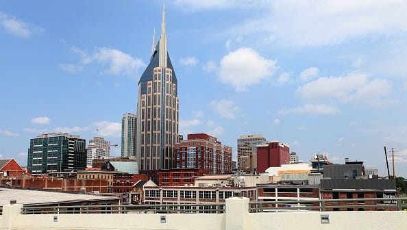 NASHVILLE - MAY 26:  Nashville skyline as photographed from the Shelby Street Bridge in Nashville, Tennessee on May 26, 2016.  (Photo By Raymond Boyd/Getty Images)