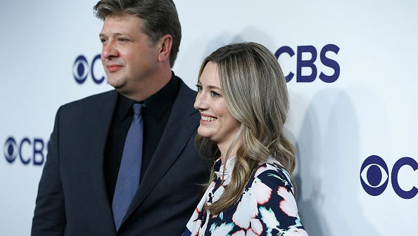 Lance Barber and  Zoe Perry attend the 2017 CBS Upfronts at The Plaza Hotel on May 17, 2017 in New York City.