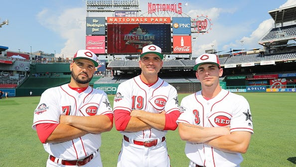 (Left to right) Eugenio Suarez, Joey Votto and Scooter Gennett of the Cincinnati Reds pose for a photo during the Gatorade All-Star Workout Day at Nationals Park on Monday, July 16, 2018 in Washington, D.C.