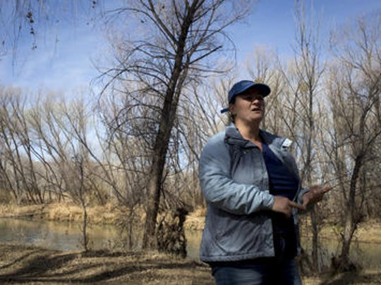 Kimberly Schonek (The Nature Conservancy) talks about restoring flows, March 6, 2018, in the Verde River, Camp Verde, Ariozna.