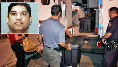 Police remove items from a storage room at 22 Alder St. in Yonkers, seen in a screen grab from WNBC-TV, where authorities found a cache of weapons. Antonio Olmeda, inset, pleaded guilty and has been sentenced for possessing the firearms.