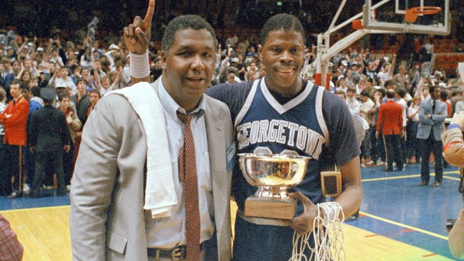 "Coach John Thompson, left, helped Georgetown University become known as ""Big Man U"" with players like Patrick Ewing, right."