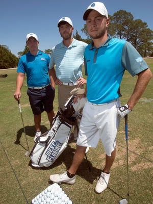 UWF golfers left to right, Henry Westmoreland, lV, Christian Bosso, and Chandler Blanchett were part of a record-setting win and individual finish for the Argos men's golf team.