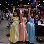 "Cosplayers go to ""Work"" as the Schuyler sisters from the Broadway musical ""Hamilton"" at MegaCon Orlando on May 27."