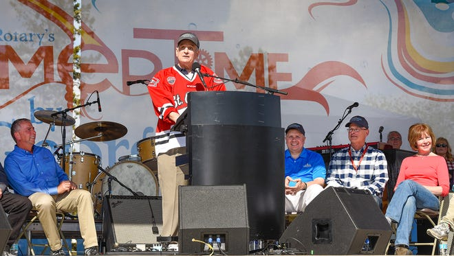 Gov. Mark Dayton welcomed everyone during the Governor's Fishing Opener Community Picnic Friday, May 12, at Lake George.