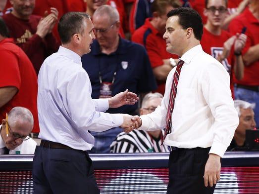 Arizona State head coach Bobby Hurley greets Arizona