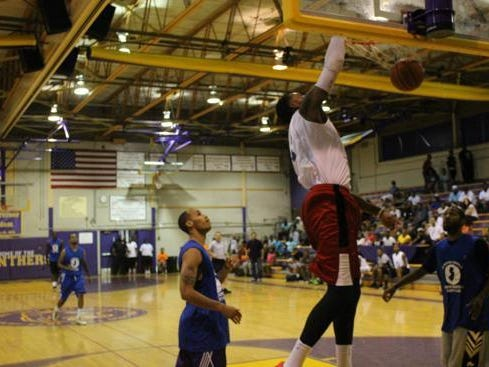 Jason Thompson dunks during the Rebirth of Camden Basketball Charity Classic last year.
