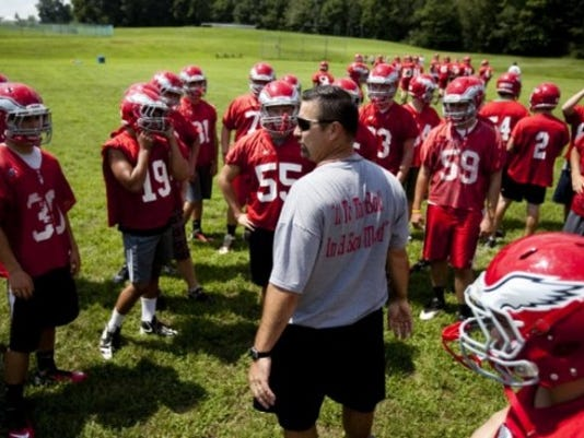 Coach Jon DeFoe and the Bermudian Springs Eagles will play host to Littlestown on Friday. Both teams are 8-0 and tied atop the YAIAA Division III standings. (GAMETIMEPA.COM -- FILE)