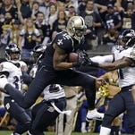 Saints wide receiver Marques Colston pulls in a touchdown reception against the Ravens last season in New Orleans.