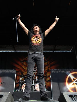 Joey Belladonna, lead vocalist for the heavy metal band Anthrax, is shown performing during the Rock Star Energy Mayhem Festival at the former Klipsch Music Center in Noblesville on July 15, 2012.