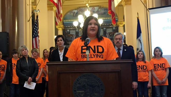 Cecilia Martinez, a senior at Marshalltown High School, speaks in support of an anti-bullying bill at the Iowa Capitol on Tuesday.