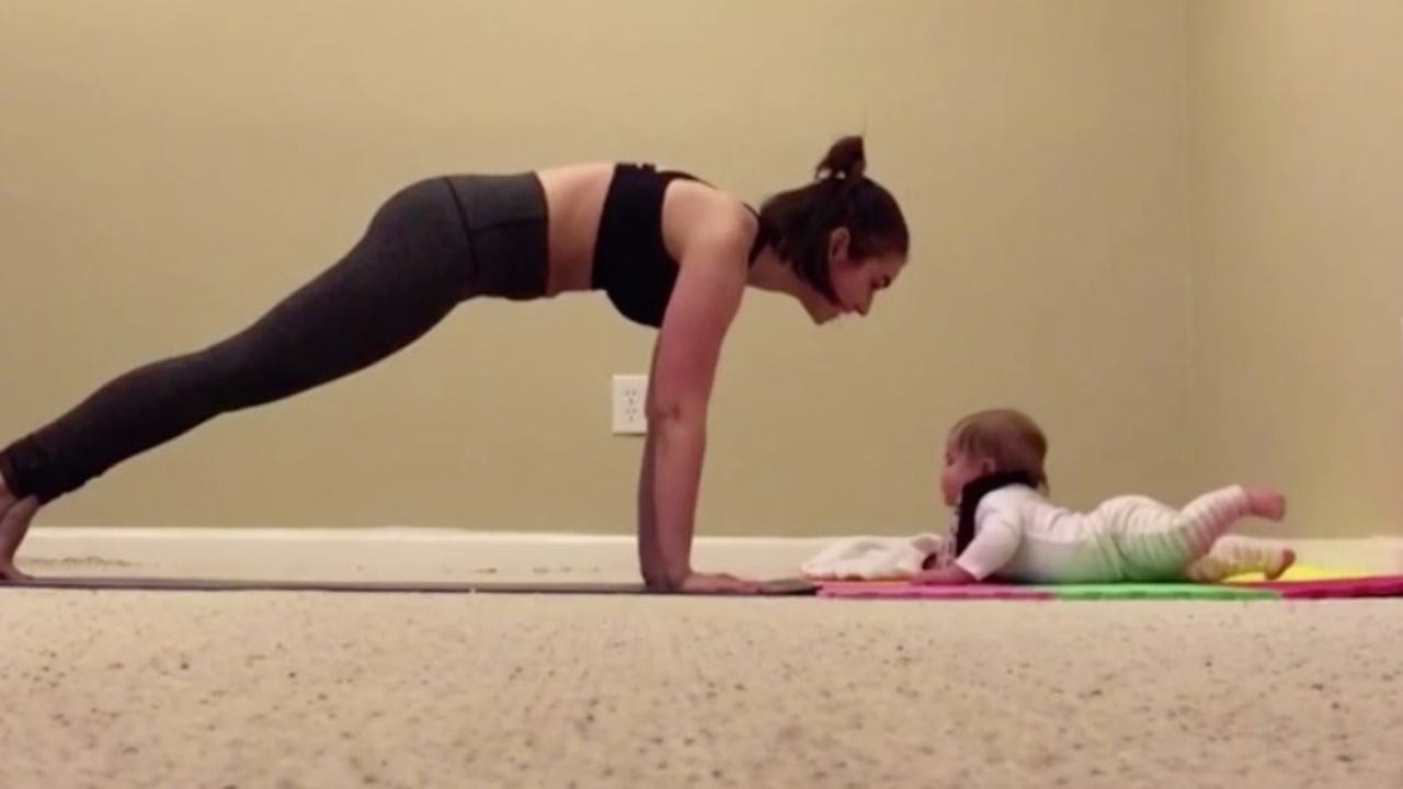 This baby just held a plank for 34 seconds