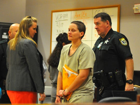 JMichelle Simkins enters the courtroom. Judge Charles Roberts sentenced Michelle Simkins to 10 years in prison and five years probation for her New Year's Eve hit and run in Cocoa Beach. She was charged with leaving the scene of a crash with bodily harm. 12 year old Thomas Gregory was hit by the car Simkins was driving New Year's Eve 2014. The young man has sustained more than $100,000 in medical bills.