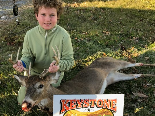 Kingsin Kelley, 10, got a seven-point buck on the first day of Pennsylvania's 2017 hunting season.