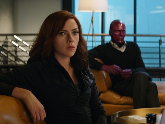 Black Widow (Scarlett Johansson) and Vision (Paul Bettany)