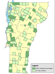 A map from Vermont's 2017 mosquito report showing in