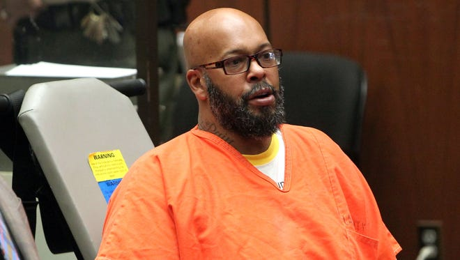 Suge Knight appears in court on April 8 for a robbery charge.