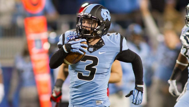 This punt return for a touchdown in the Belk Bowl was Ryan Switzer's fifth of the 2013 season. He's an outstanding receiver, too.