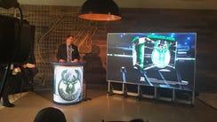Jay Parker, vice president of Daktronics, unveils plans