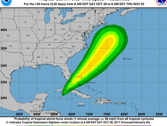 Tropical Depression 18 wind-speed probabilities as