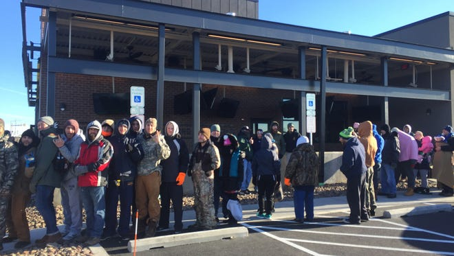 Buffalo Wild Wings opened their new location Monday, December 19, 2016 at 540 Walker Road, Chambersburg. Customers waited outside for chance to get free coupons.