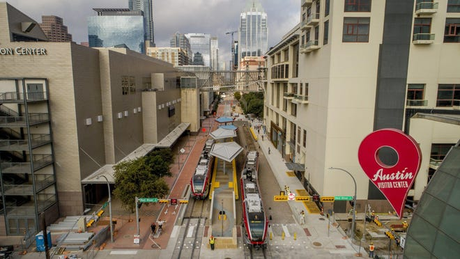 A MetroRail train leaves the Downtown Station that opened last month. The Project Connect plan includes two new light rail lines in Austin and a commuter rail line to Colony Park.