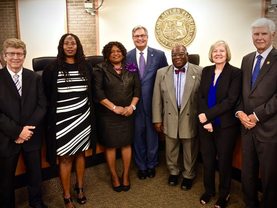 The Fort Myers City Council. From left, Michael Flanders, Terolyn Watson, Teresa Watkins-Brown, Mayor Randy Henderson, Johnny Streets, Gaile Anthony and Forrest Banks.
