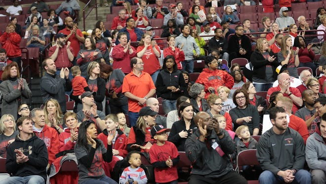 Princeton fans cheer on the Vikings.