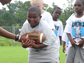 A camper performs running back drills at Mike Cadore's 'I Got Skillz' football camp in Rockledge, partnered with USA Football and the NFL.