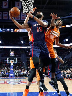 Detroit Pistons forward Marcus Morris drives on Phoenix