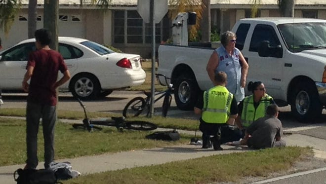 A boy was injured after being hit by a truck in North Fort Myers.