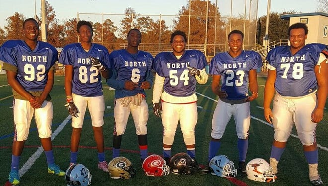 Representing Greenville County on the North team in Saturday's Touchstone Cooperatives Energy Bowl will be, from left, Ryan Putman (Christ Church), Alex Syphertt (Greer), Jerome Foster (Greenville), Amari Houston (Hillcrest), Daniel Dixon-Brooks (Christ Church) and Patrick Wofford (Mauldin).