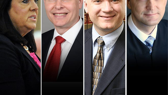 Candidates for the second circuit judicial elections, from left: Joni Cutler, Jim Power, John Pekas and John Hinrichs.