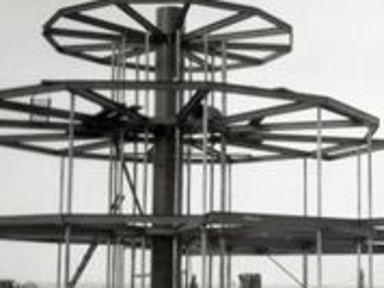 """""""House of Tomorrow,"""" under construction, 1932."""