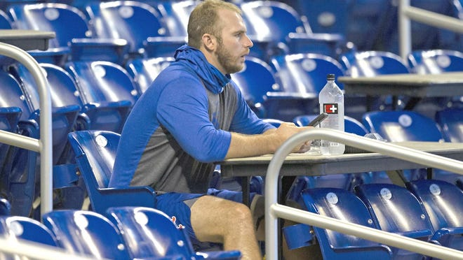 New York Mets first baseman Pete Alonso looks on from the stands before Thursday' sgame against the Miami Marlins was canceled Marlins Park in Miami.
